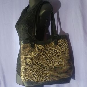 Maxx New York, carpet bag with leather pvc trim.